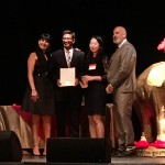 Archit and Sarah Accepting the Award for Blue Ribbon Sushi